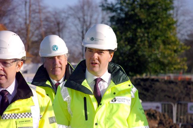 Former Chancellor George Osborne and Warrington South MP David Mowat