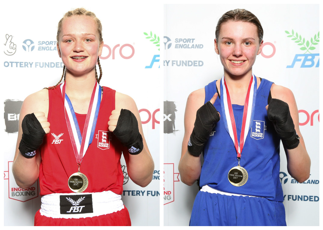 Olivia Hussey, left, and Hook and Jab clubmate Elise Glynn proudly wear their gold medals. Pictures: Chris Bevan/England Boxing