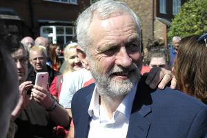 Labour leader Jeremy Corbyn on his visit to Warrington this afternoon