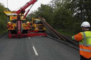 Lorry sheds its load blocking Stockport Road