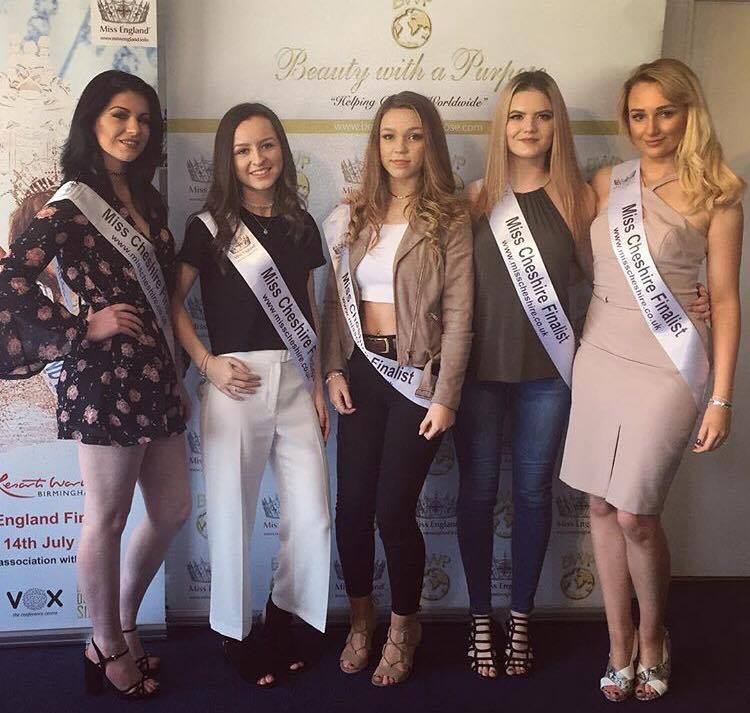 Rachael, second from right, with some of the Miss Cheshire finalists