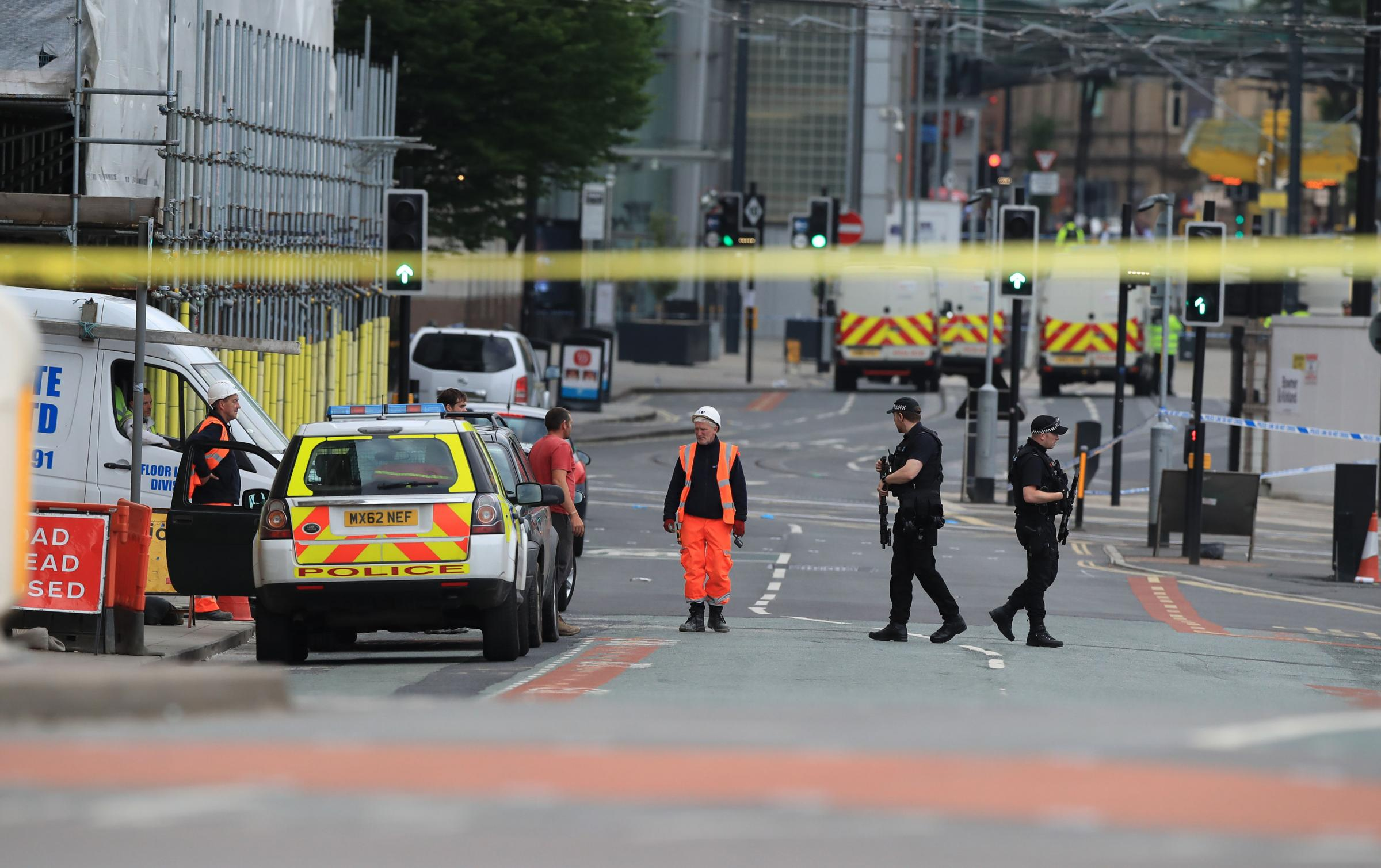 The scene of the attack at the Manchester Arena