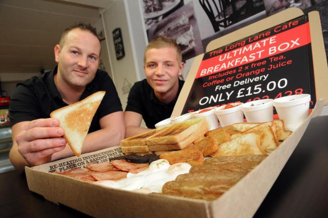 Long Lane Cafe Owners Danny Potts And Kiale Burt With The Breakfast Box