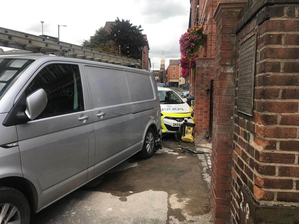VIDEO: Police car crashes into Friar Penketh pub in town centre ...
