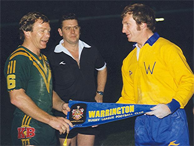 Warrington Guardian: Captains Bobby Fulton and Billy Benyon shake hands before the start. Pictures by Eddie Whitham