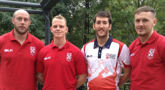 Wolves' England selections for the 2017 Rugby League World Cup. From left, Chris Hill, Kevin Brown, Stefan Ratchford, Ben Currie. Picture by Mike Parsons