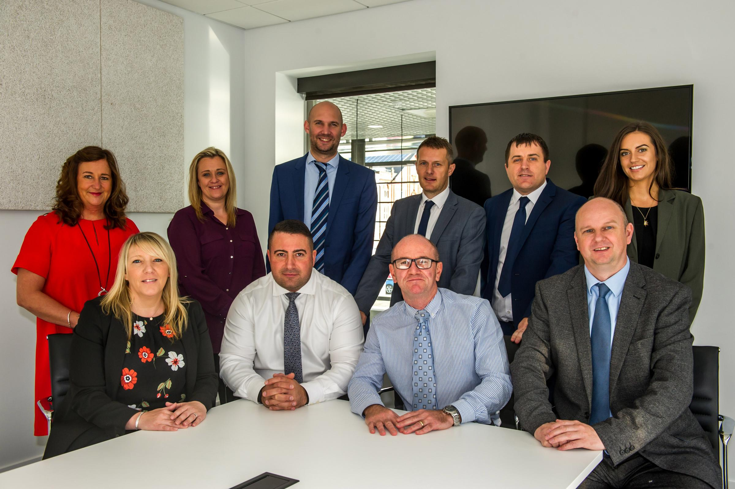 Langtree's Anthony Cassidy, front, second left, welcomed the new tenants to the site