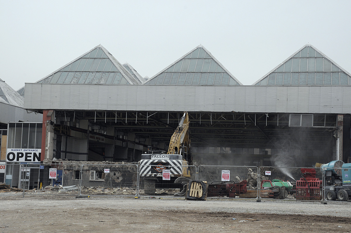 The demolition of the old Warrington Market is well underway.