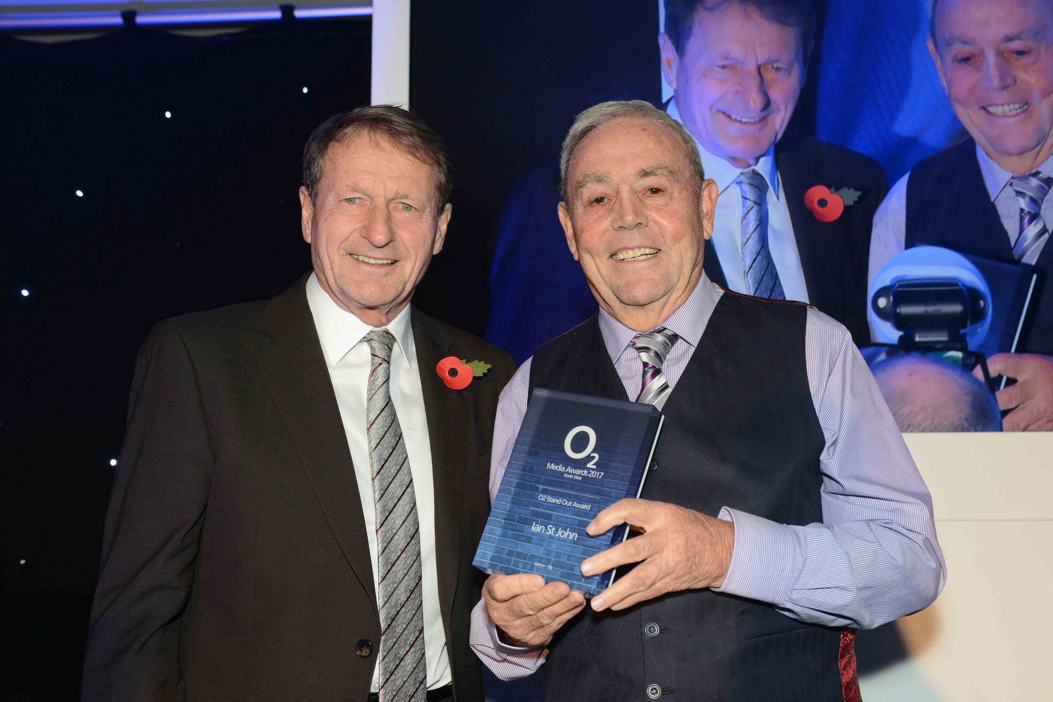 Ian St John, right, on stage with his former Liverpool FC teammate Roger Hunt at the 02 North West Media Awards at Manchester City's Etihad Stadium