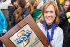 Suzanne with the State Championship trophy