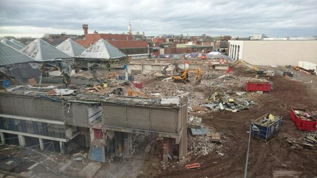 The demolition of the old Warrington Market