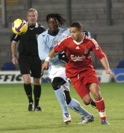 Nabil El Zhar in action for Liverpool Reserves earlier this season against Manchester City