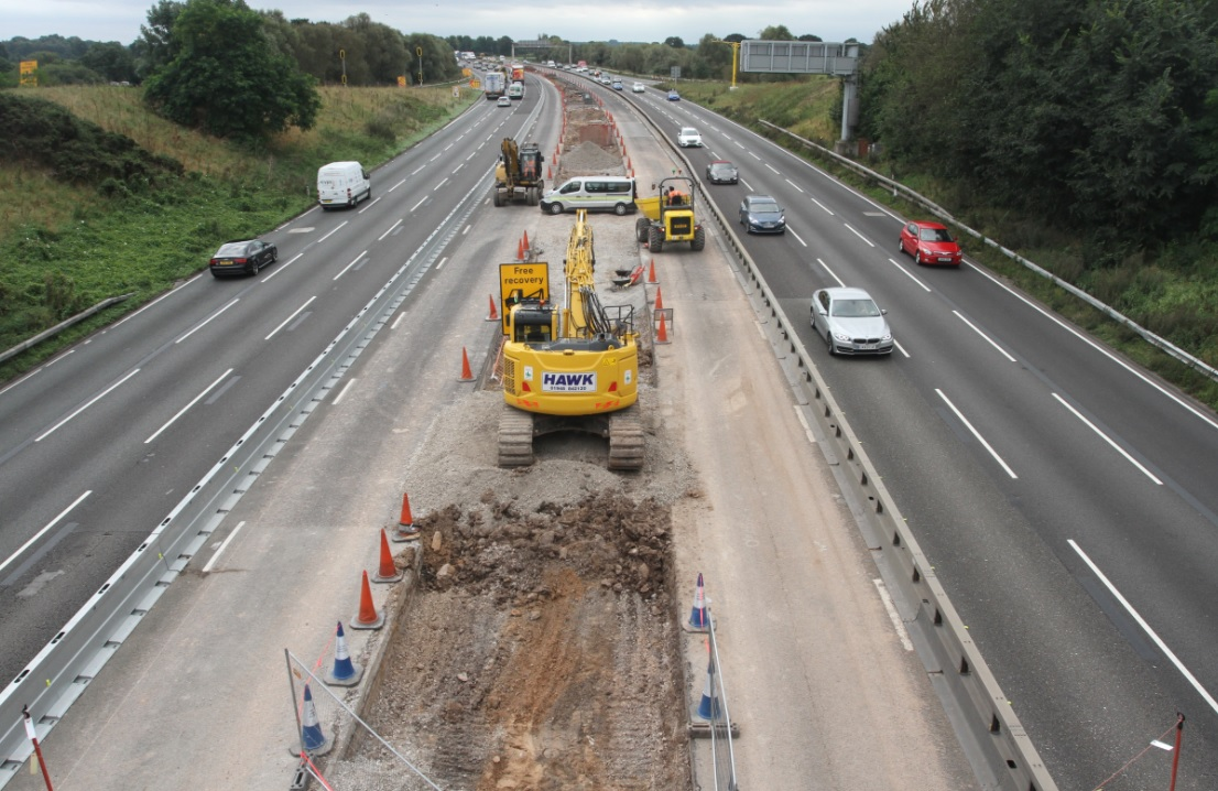 Roadworks on the M6. Credit: Highways England