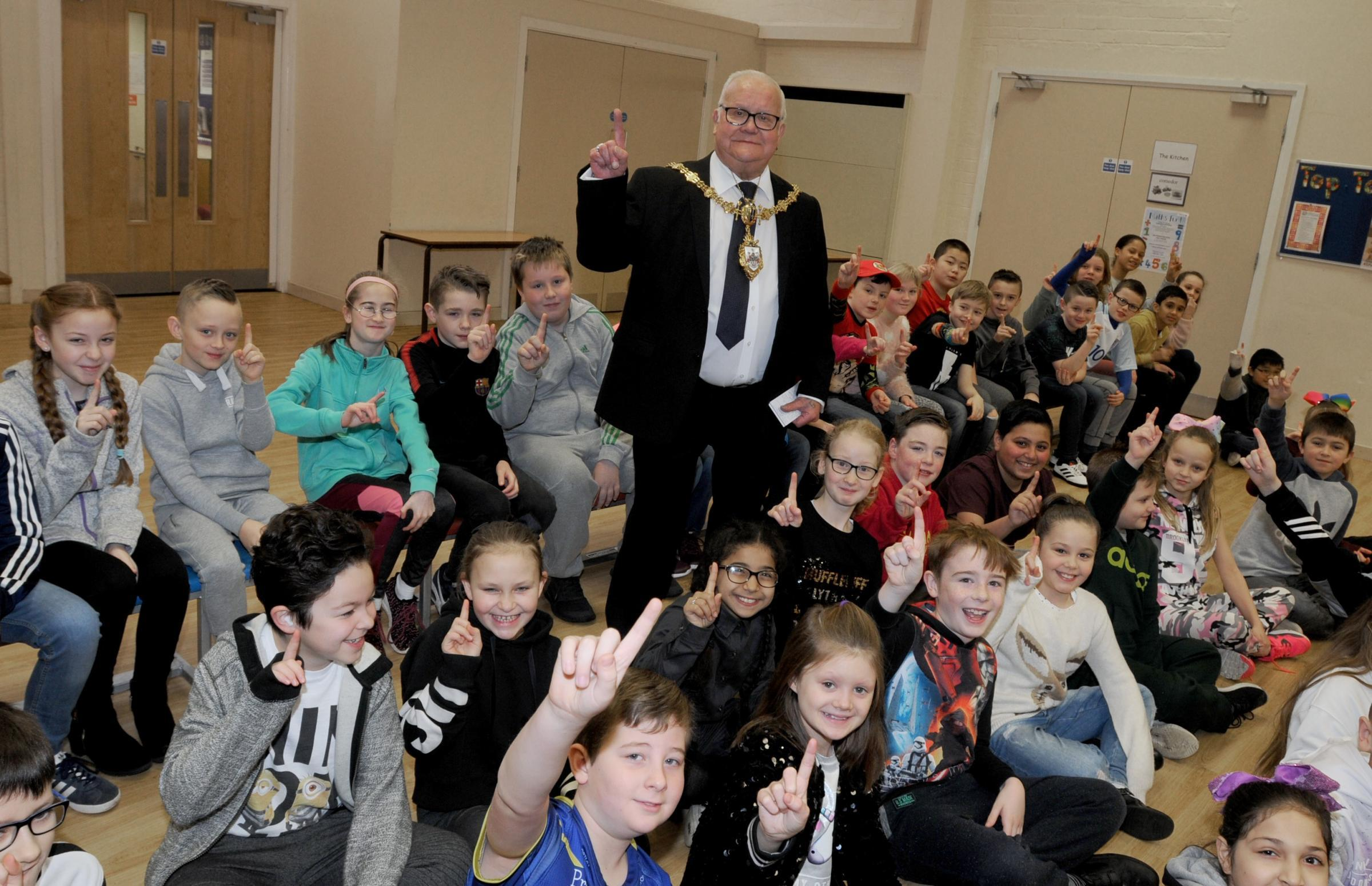 Mayor Cllr Les Morgan with pupils at Latchford St James CE Primary School