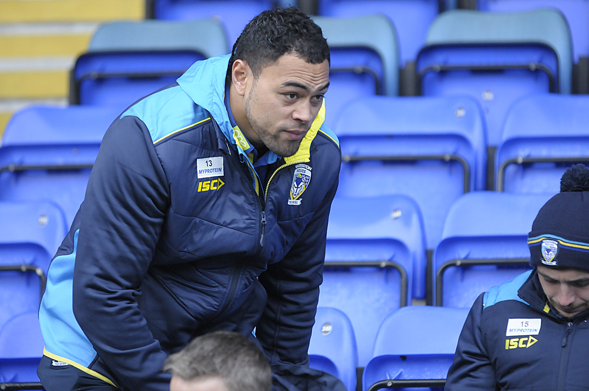 Sita Akauola takes his seat in the stands before The Wire's pre-season friendly against Salford. Picture by Mike Boden