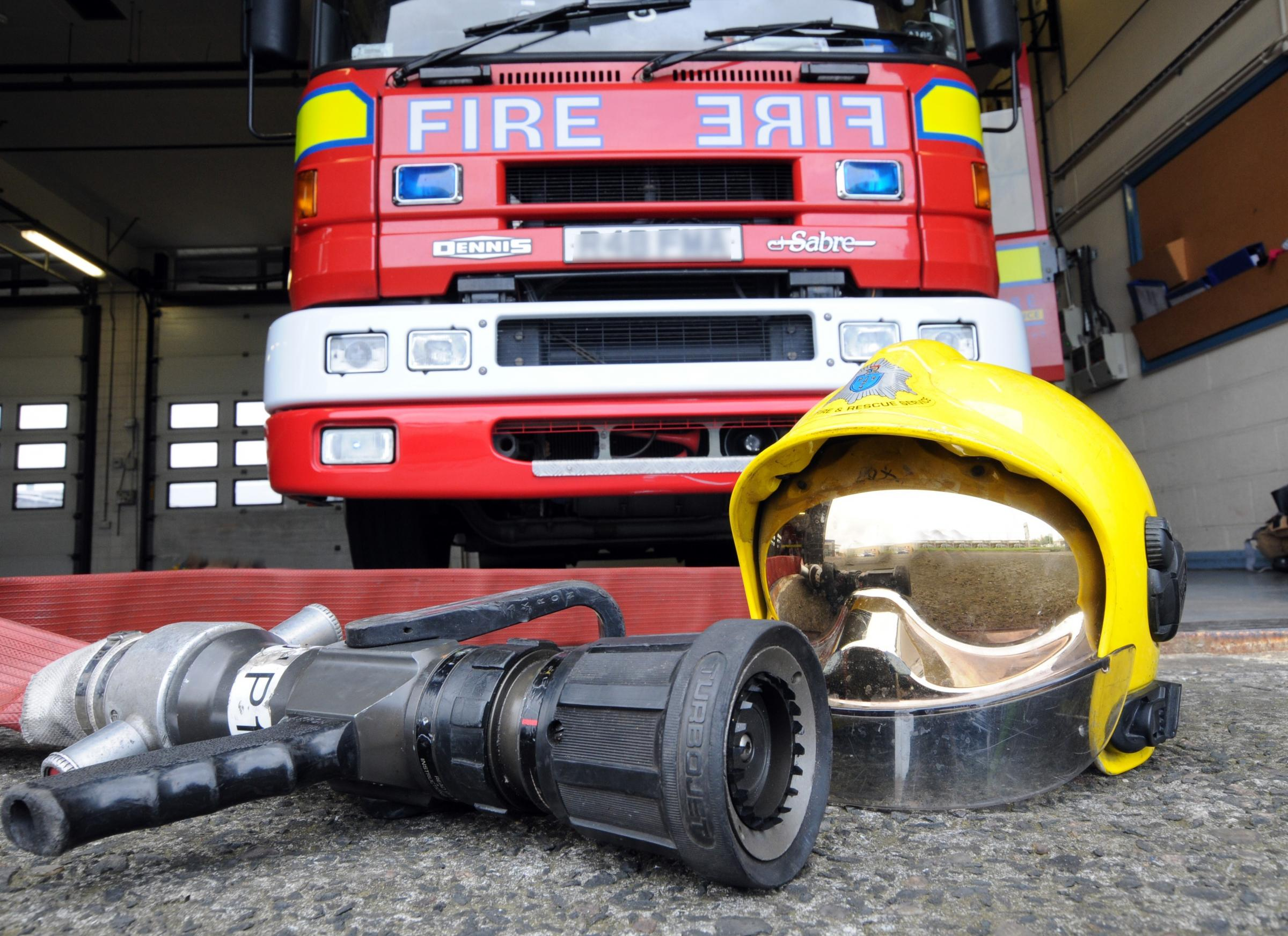 Cheshire fire brigade stock photo.
