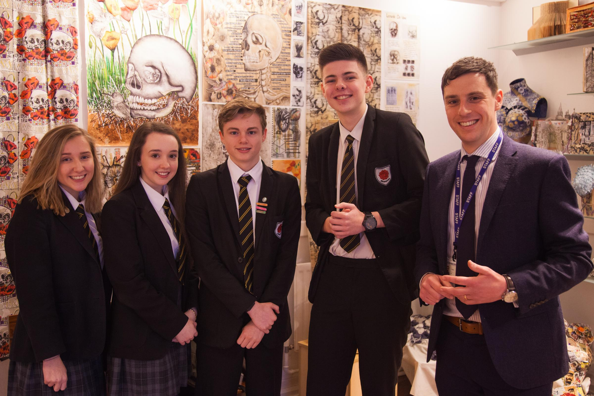 Left, Nicola Speakman, Isabel Griffiths, Ethan Turton, Connor Hawker and Principal John Carlin