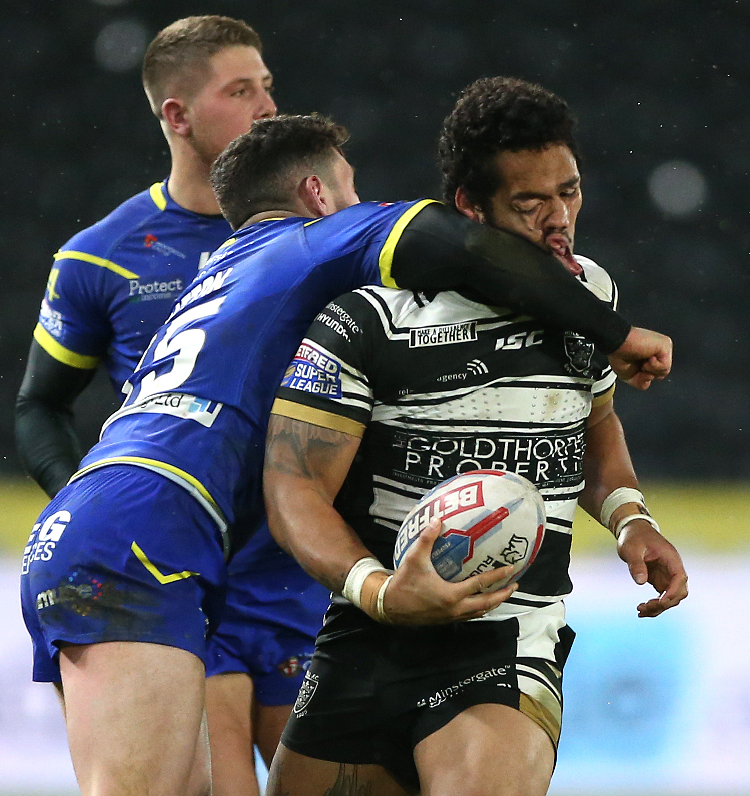Dec Patton was sent off for this high tackle on Bureta Faraimo. Picture by Nigel French/PA Wire