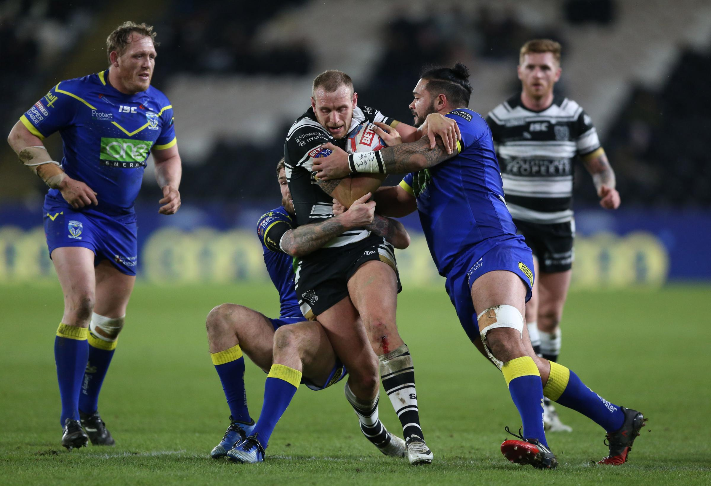 Action from The Wire's defeat at Hull FC on Friday night. Picture by Nigel French/PA Wire