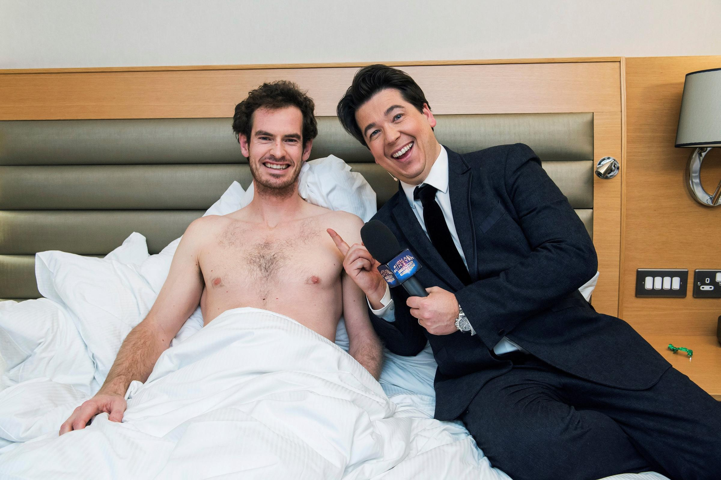 Tennis player Andy Murray has his sleep disturbed by Michael McIntyre (Sport Relief/BBC)