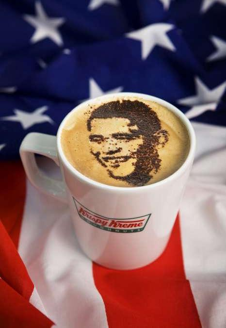 Warrington Guardian: Krispy Kreme is giving away Americano coffees decorated with Barack Obama's face