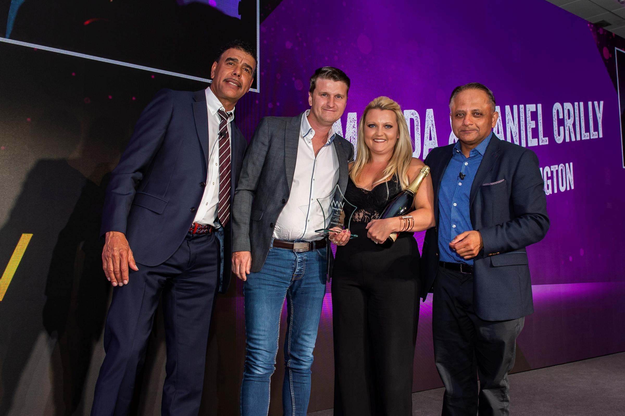 Chris Kamara, Amanda and Danny Crilly and Greene King's CEO Rooney Anand