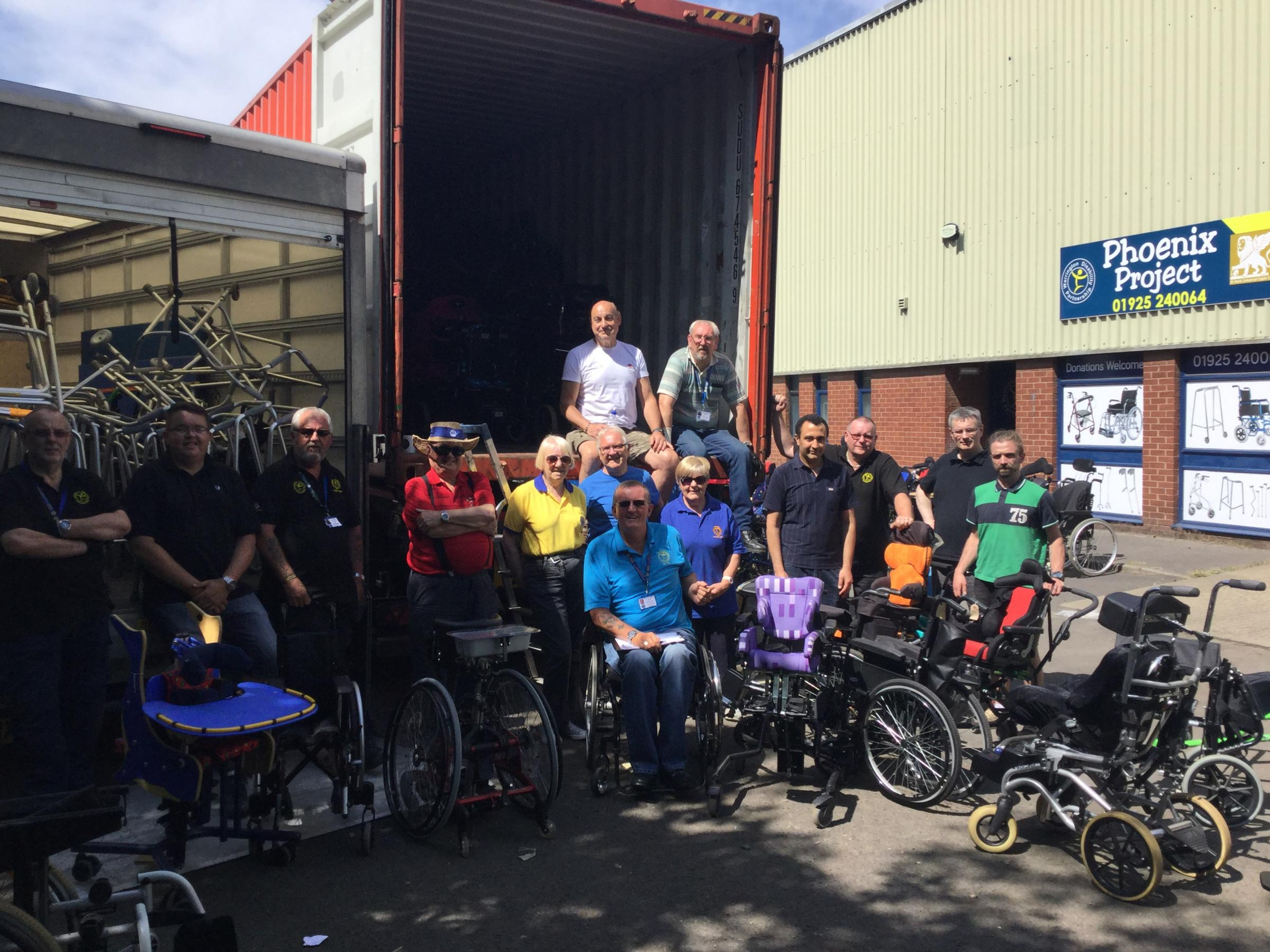 Warrington Disability Partnership's Phoenix Project has sent £350,000 worth of mobility equipment to the 57357 Hospital in Cairo.