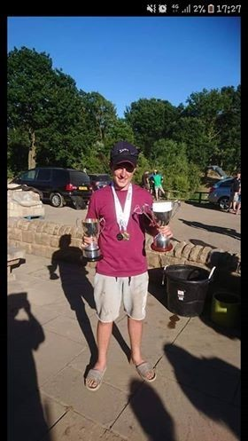 Kieran Charnock celebrates his Angling Trust National Youth Championship win