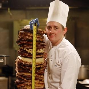 Warrington Guardian: Chef Sean McGinlay attempts a world record to create the world's tallest pancake stack