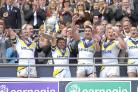 Adrian Morley and Lee Briers lift the Challenge Cup for Warrington Wolves at Wembley in 2009. Picture: Mike Boden