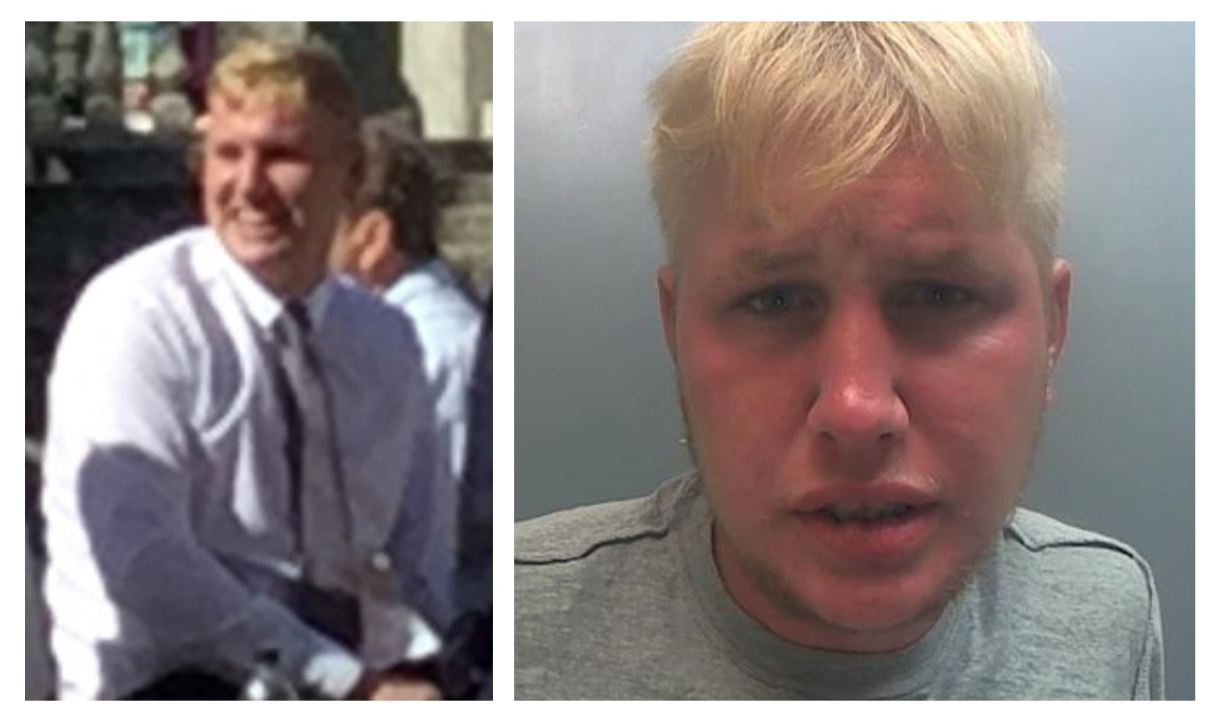 Left; Neil Harrison outside Liverpool Crown Court before he was sentenced and, right; in police custody