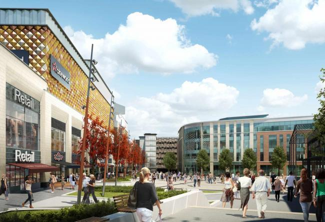 An artist's impression of how the town centre could look after the Time Square project is completed