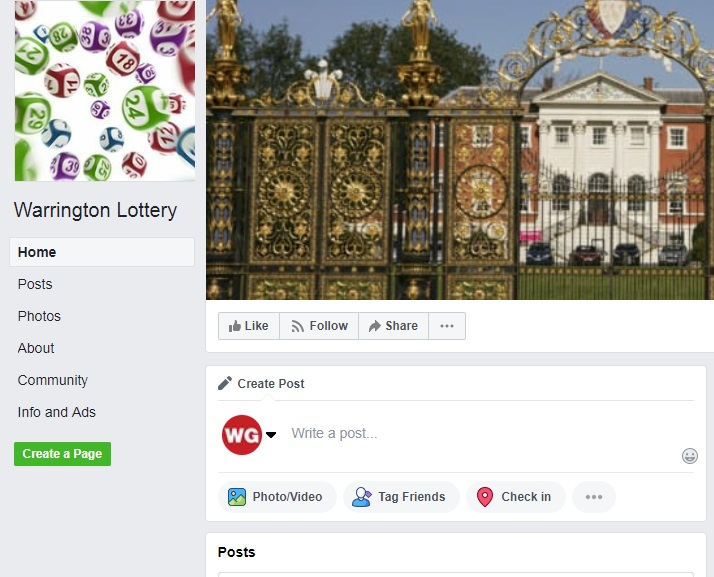 Warrington Lottery Facebook page
