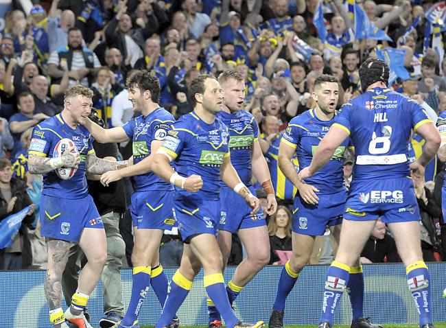 Josh Charnley's try gave Warrington Wolves a 4-0 lead in the 2018 Super League Grand Final at Old Trafford. Picture: Mike Boden