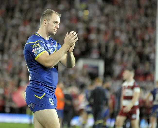 George King, gutted after his final game for Warrington Wolves turned out to be a Grand Final loss to Wigan Warriors at Old Trafford. Picture: Mike Boden