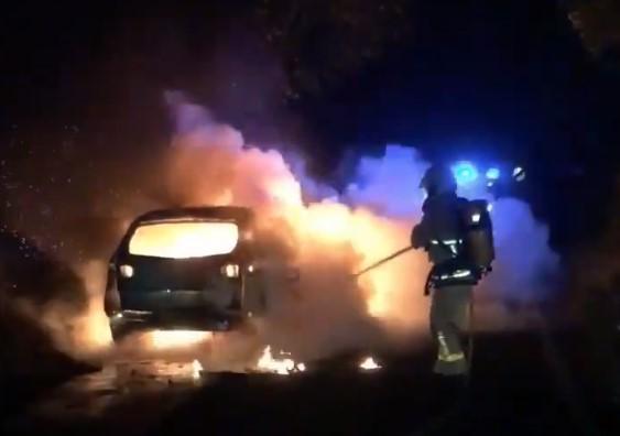WATCH: Fire crews battle late night car arson