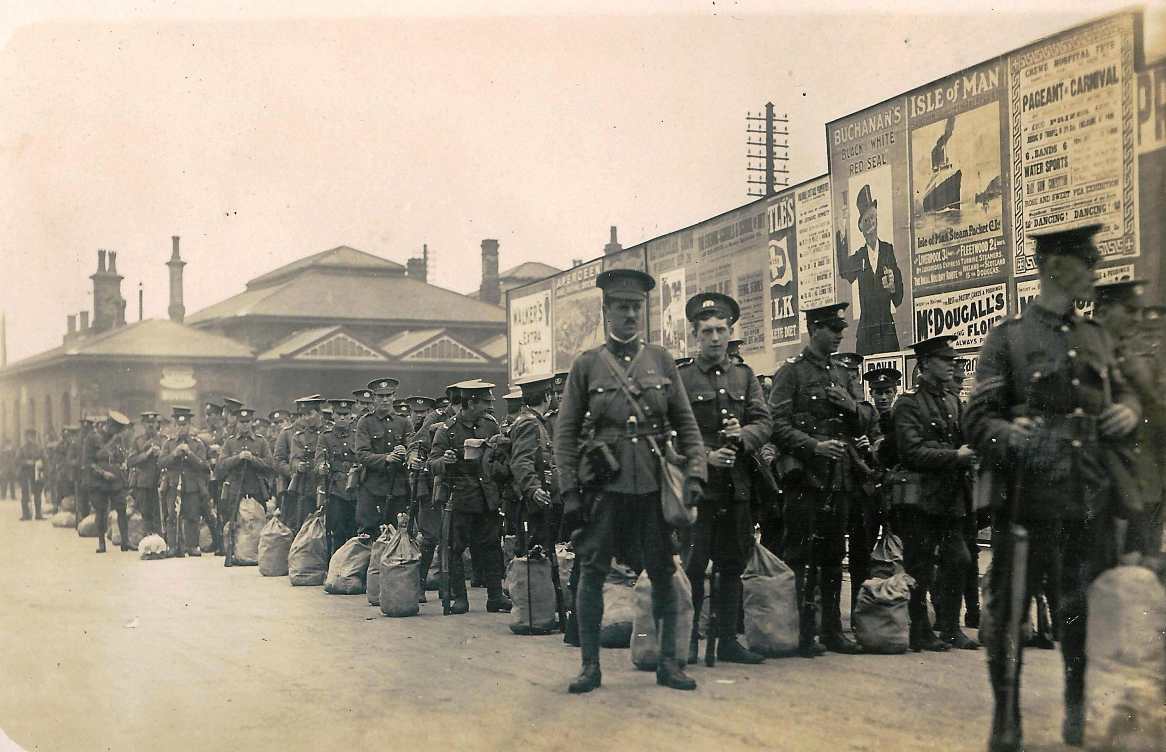 Members of the South Lancashire Regiment ready to depart at Bank Quay