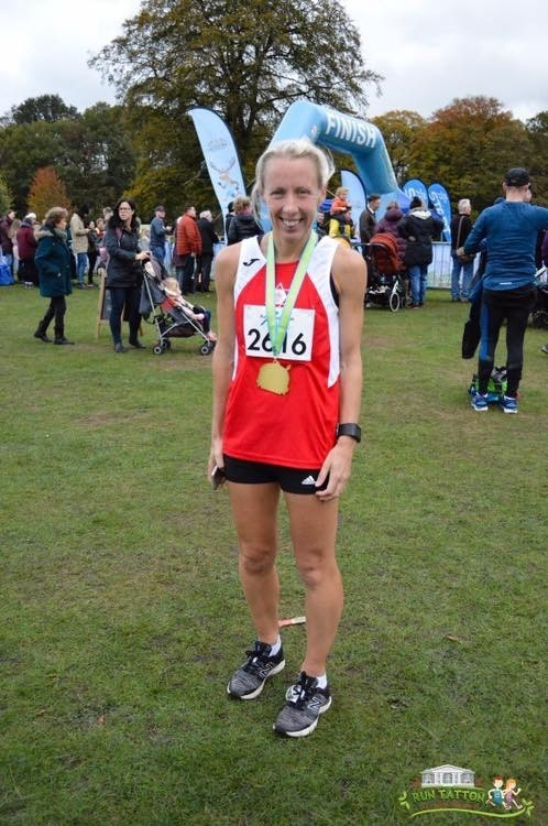 Louise Blizzard won the women's over 40s age group at the Tatton Half Marathon