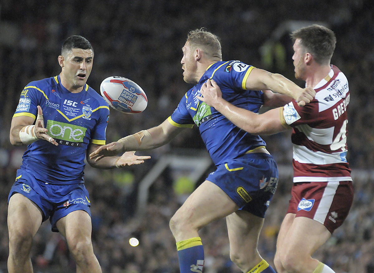 Warrington Wolves against Wigan Warriors in the 2018 Super League Grand Final at Old Trafford. Picture: Mike Boden