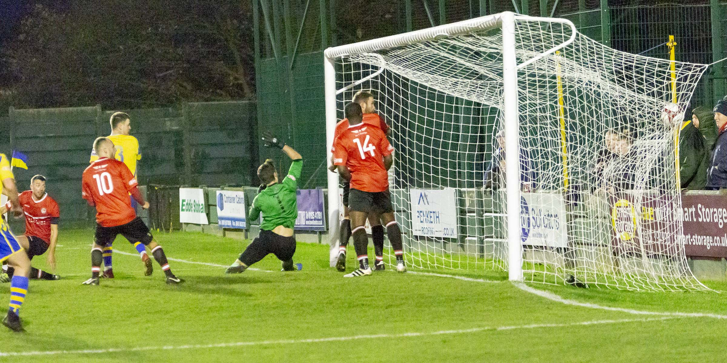 Jake Kirby's winner means Yellows have now done the double over Hyde United this season. Picture by John Hopkins