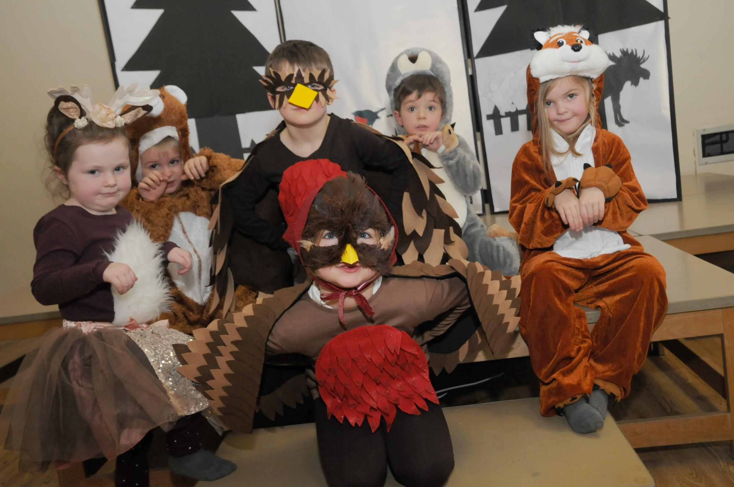 Left, Tilly Callaghan, Lewis Kirk, Monty Knott, Emma Reid, William Oakes and Zara Woods in costume for their Christmas play