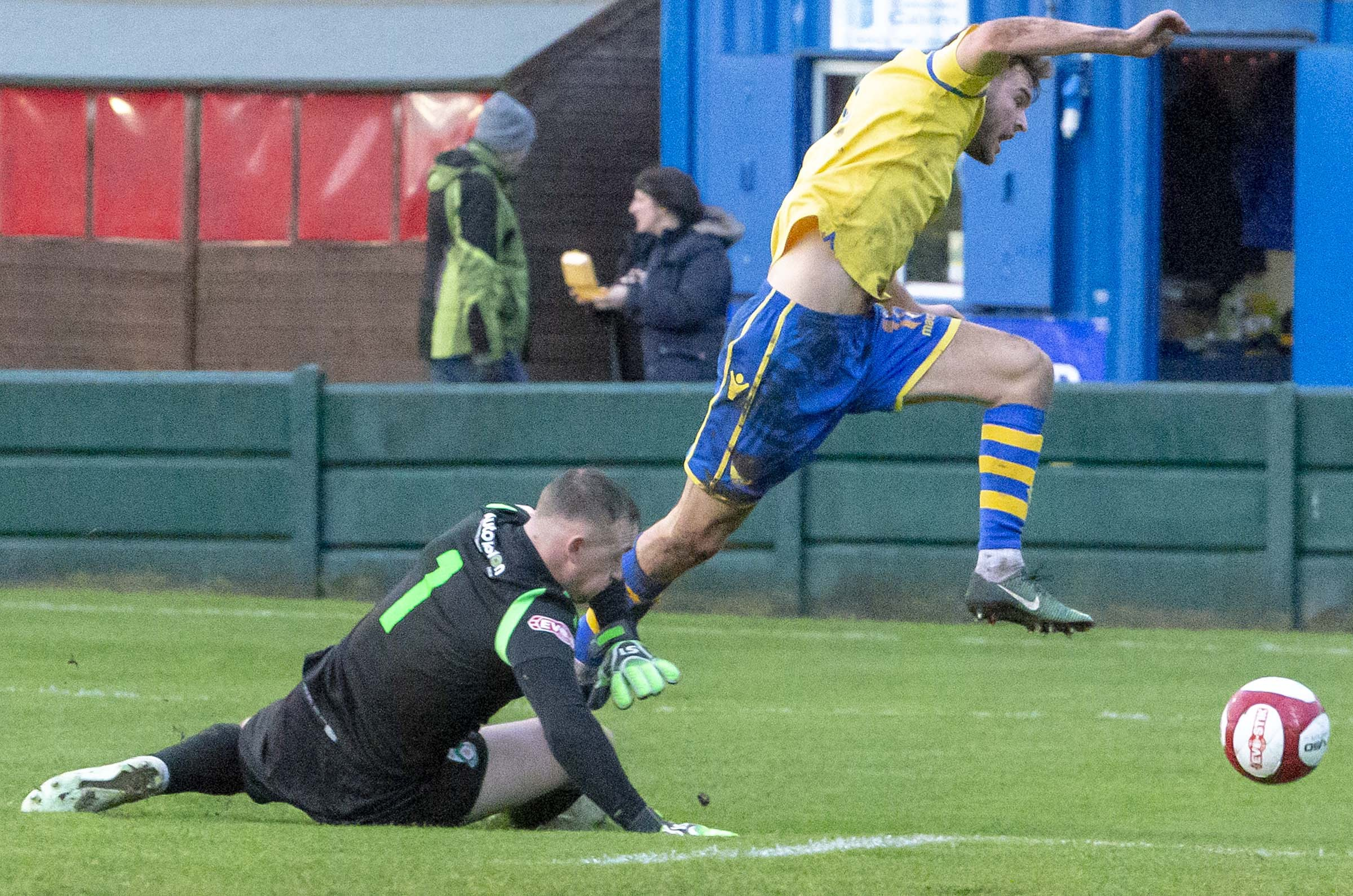 Jake Kirby wins a penalty for Warrington Town on Saturday. Picture by John Hopkins