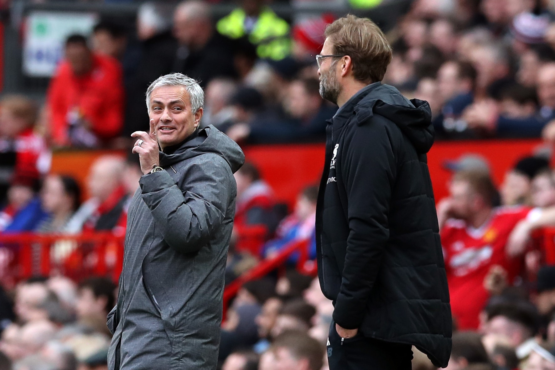 Jose Mourinho, left, and Jurgen Klopp will pit their wits against each other again on Sunday