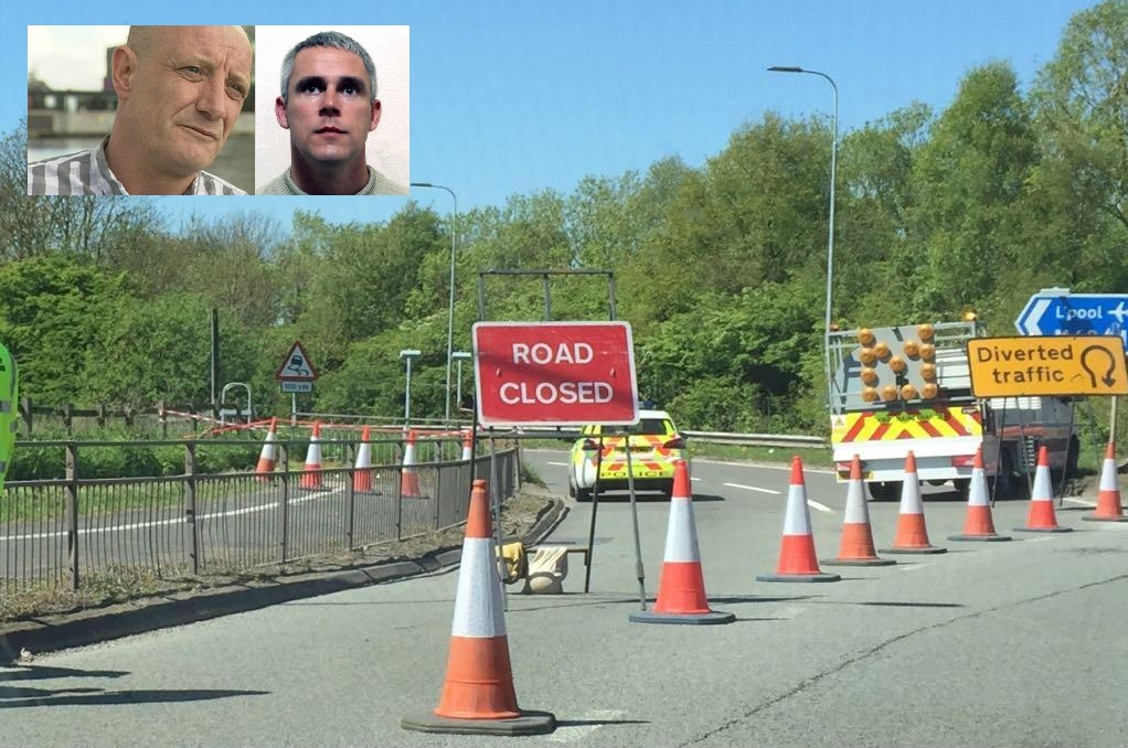 The scene of John Kinsella's murder at junction seven of the M62 and, inset, Paul Massey and John Kinsella.