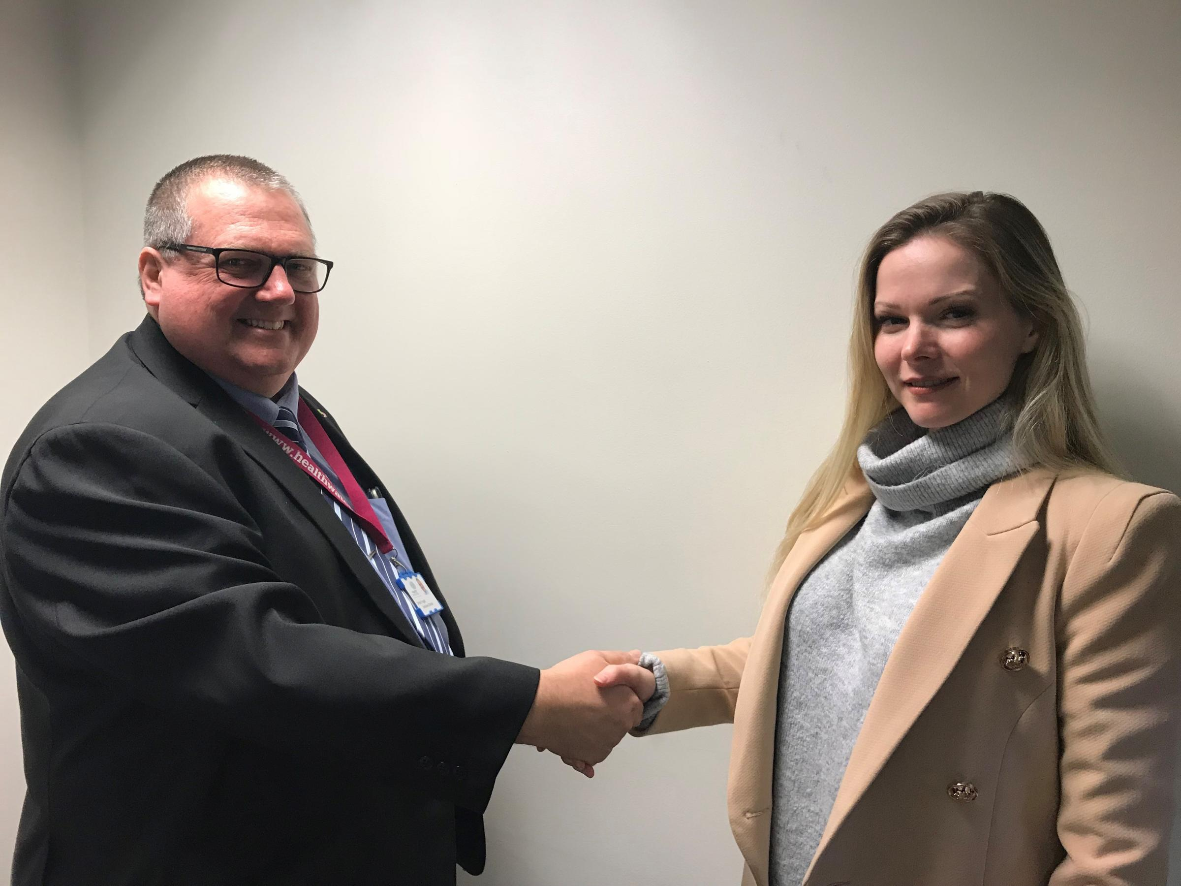 Simon Fogell, executive director of Engaging Communities (ECS) welcoming Ruth Marie Dales as chair of Healthwatch Warrington Advisory Board