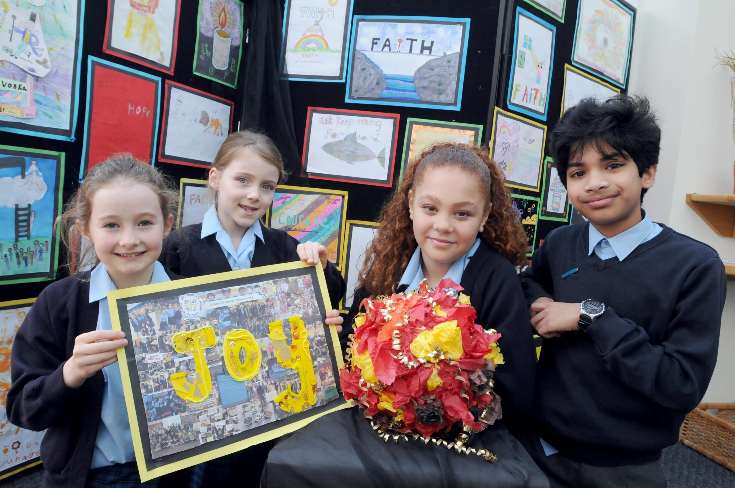 St Monicas art winners L to R Annie Noone, Sienna Dobson, Chola Mai Dakib and Aryan Ashish's.