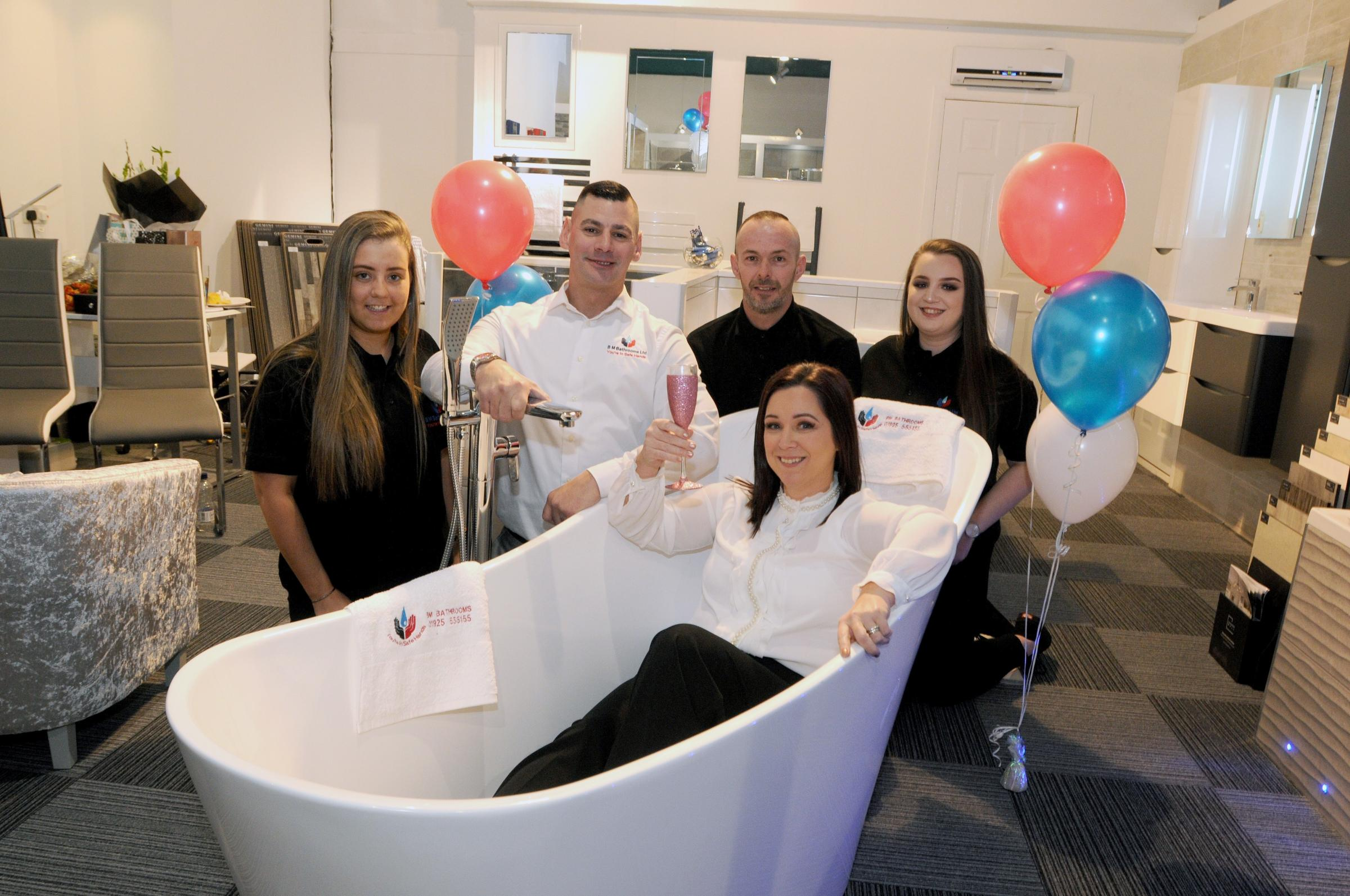 Left, Rachel Snape, Brian Marshall, Paul Bullen, Nicola Marshal and Ellie Butterworth at the opening of BM Bathrooms