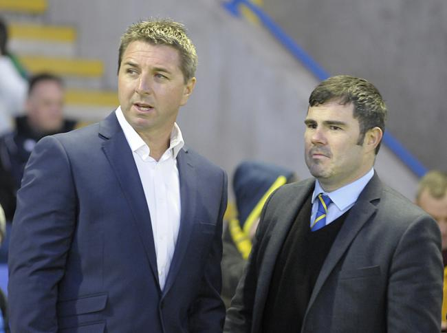 Warrington Wolves chief executive Karl Fitzpatrick, right, with head coach Steve Price. Picture by Mike Boden