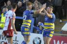 Harvey Livett and Tom Lineham were try-scorers for The Wire against Hull KR. Picture by Mike Boden