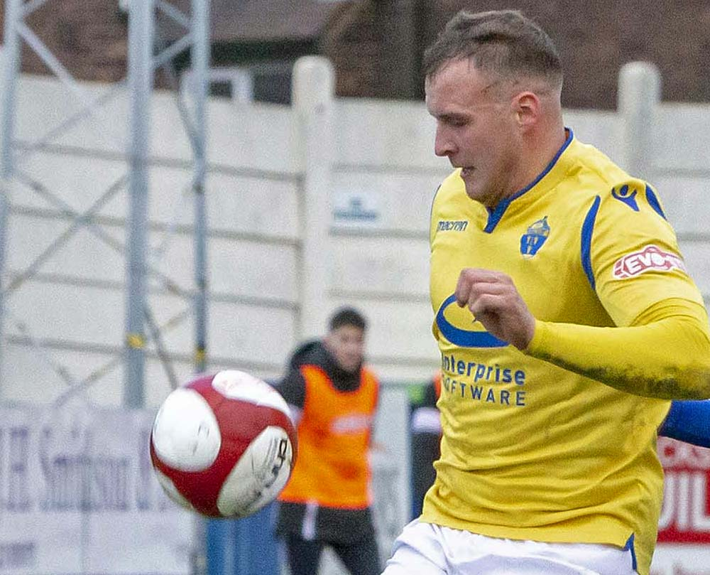 Josh Amis bagged a brace for Warrington Town. Picture: John Hopkins
